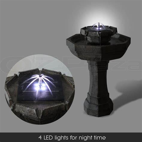 solar power multi tier bird bath water led light