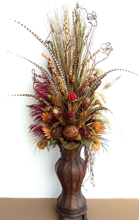 Dried Flower Arrangements In Vases by Six Dried Floral Arrangement With Pheasant