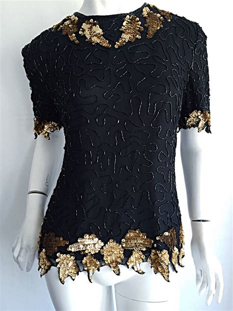 beaded blouse beautiful vintage black gold silk beaded scalloped