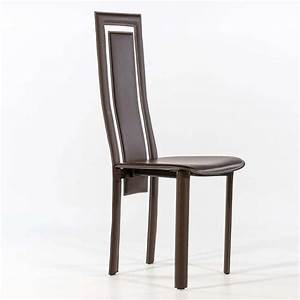 Chaise de salle a manger en croute de cuir betty 4 for Salle À manger contemporaine avec chaise salle a manger cuir noir