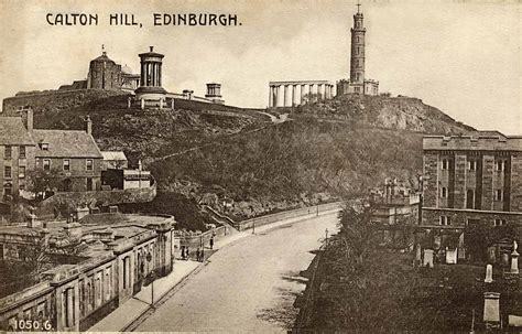 small house enlargement of a hartmann postcard of calton hill and rock