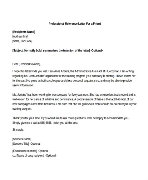 professional recommendation letter sle professional reference letter 8 free documents 20275