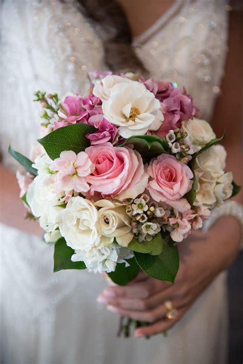 bouquets  small white pink bridal bouquet