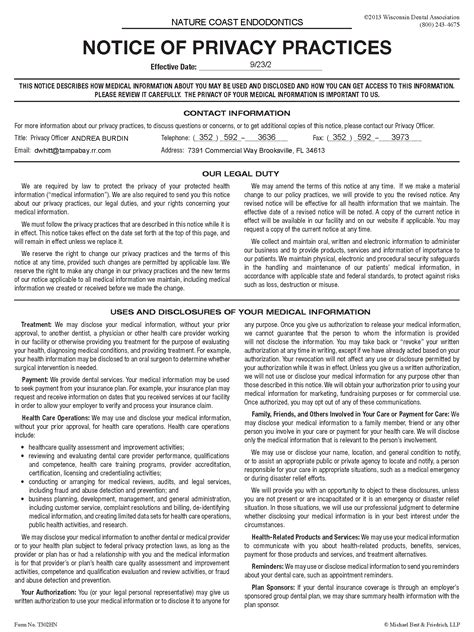 Notice Of Privacy Practices Template by Hipaa Forms 2016 Pdf