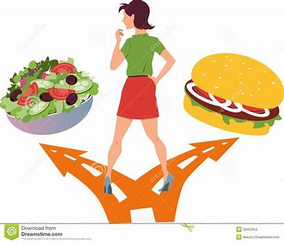 Healthy Clipart Fast Junk Woman Choosing Forming
