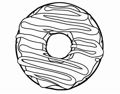 Donut Coloring Pages Drawing Printable Donuts Line