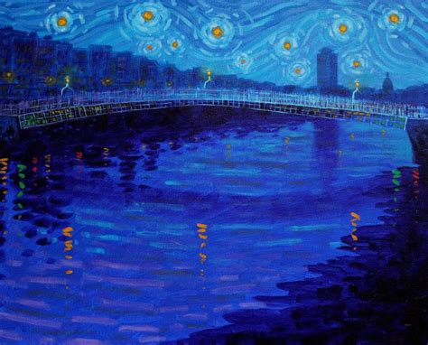 starry night in dublin painting by john nolan