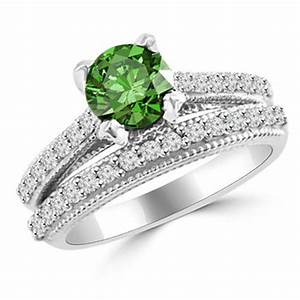 177ct matching antique style green diamond engagement With wedding rings green