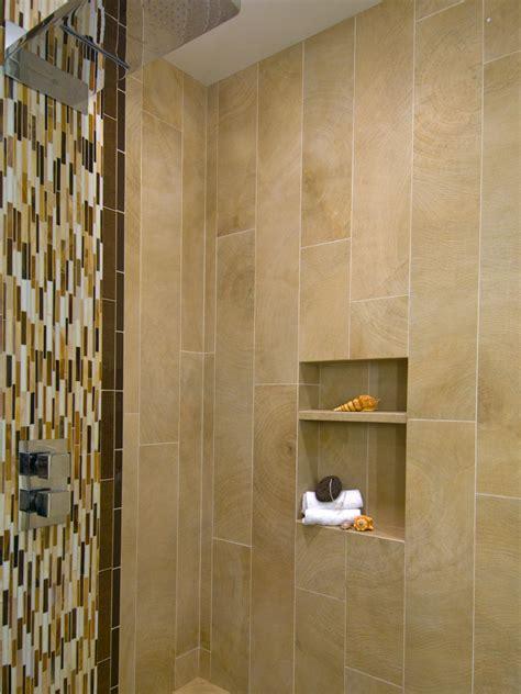 modern shower  vertical mosaic tiles  wall niche hgtv