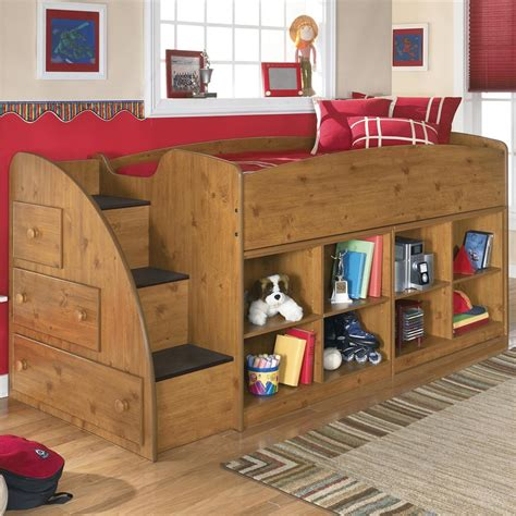Amazing Kids Room Wooden Twin Loft Bed With Storage Unit