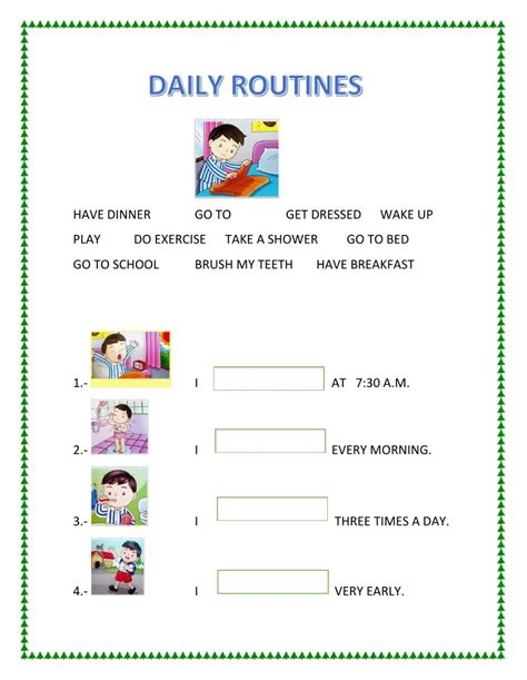 dialy routines interactive worksheet