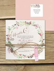 Rose gold foil charmed invitation online australia for Rose gold wedding invitations australia
