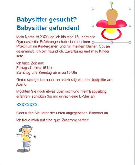 babysitteraushang   baby flyer babysitting