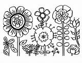 Zinnia Coloring Flower Doodles sketch template