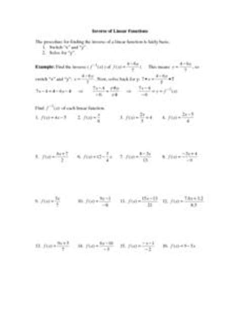 Math Worksheets Linear Functions  Pre Algebra Worksheets Linear Functions Worksheetsmath