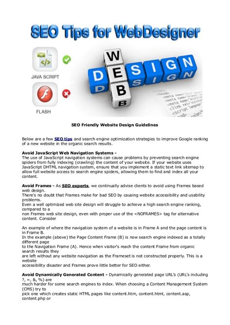 Seo Guidelines by Seo Friendly Website Design Guidelines