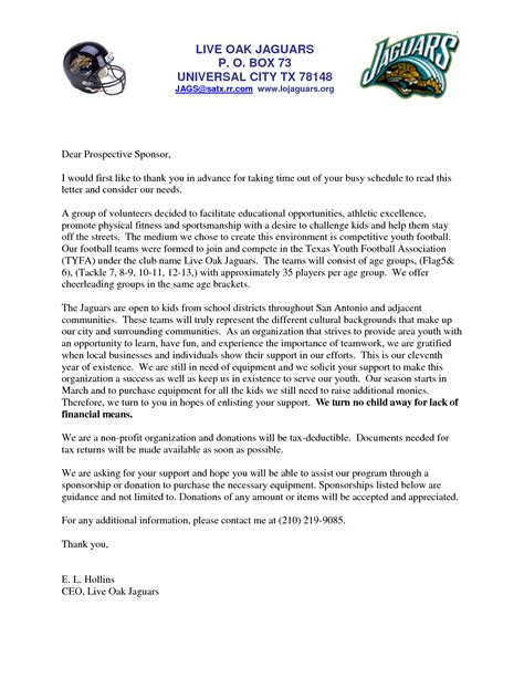 letters  sports teams youth sponsorship letter team