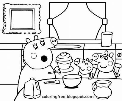 Peppa Pig Coloring Kitchen Printable Cartoon Colorir