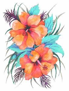 TROPICAL FLOWER {orange hibiscus} Art Print by Schatzi ...