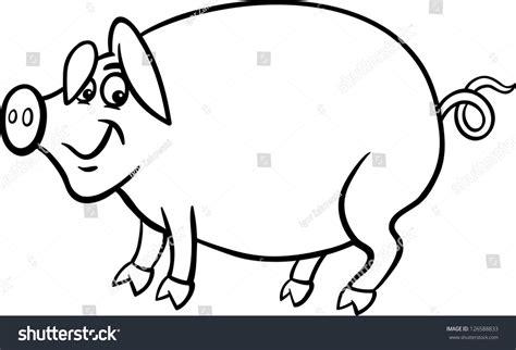 Black White Cartoon Illustration Funny Pig Stock