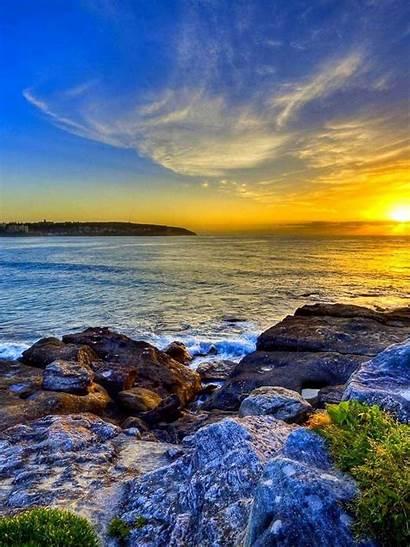 Ipad Wallpapers Apple Sunset Sea Rock