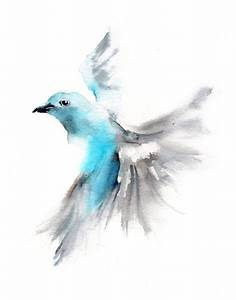 Flying Bird Watercolor Painting Art Print Bird by ...
