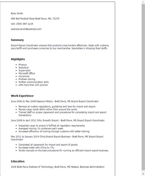Import Resume Into Template by Import Export Coordinator Resume Template Best Design