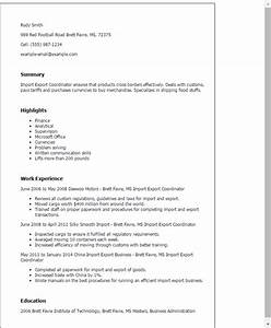 Import export coordinator resume template best design for Import resume into template