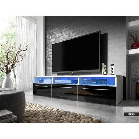 meuble de tele blanc meuble tv lavello blanc mat noir brillant avec led achat vente living meuble tv meuble