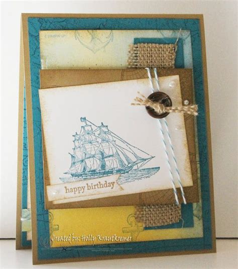 greeting card birthday handmade nautical ship anchor sea