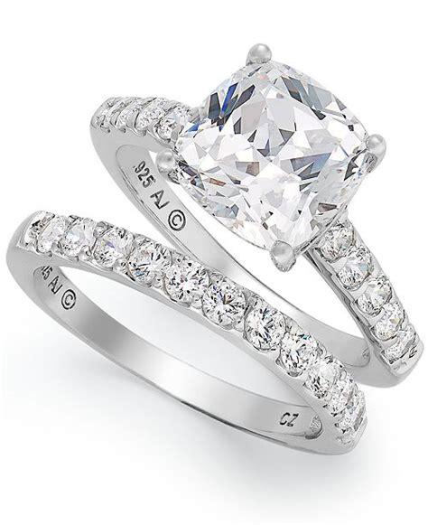 arabella sterling silver ring swarovski zirconia bridal ring and band 8 ct t w