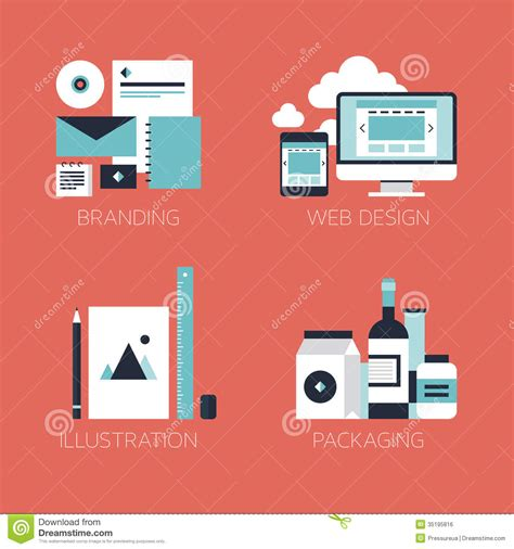 Flat Design Corporate Style Icons Stock Vector Image