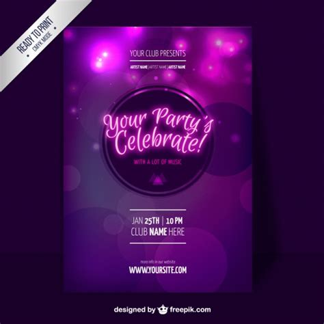 purple party flyer template vector