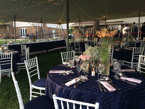 Outdoor Wedding Table Setting Navy Blue White And Light