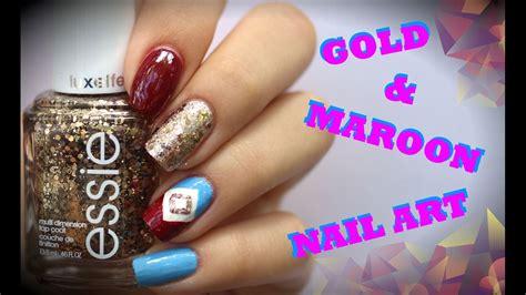 simple gold  maroon nail art tutorial youtube