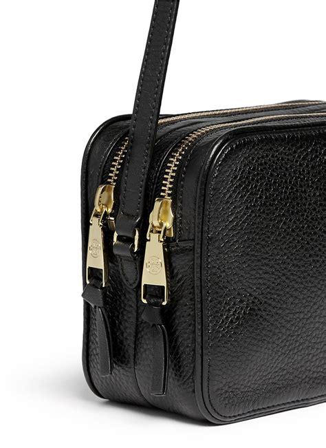 lyst tory burch robinson double zip leather crossbody bag  black