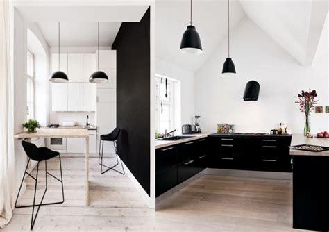 cuisine blanc et noyer décoration cuisine noir et blanc