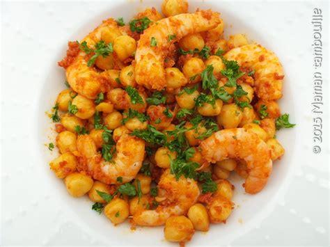 cuisine recette rapide crevettes aux pois chiche et chorizo maman tambouille