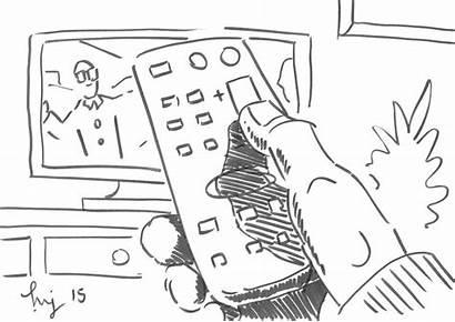 Watching Tv Cartoon Remote Box Control Drawing