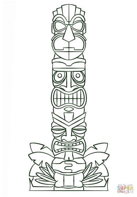 tiki totem templates tiki tribal pole coloring page free printable coloring