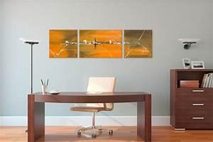 Tableau Triptyque Moderne : triptyque contemporain marron orange jaune horizontal tableaux abstraits jaune orange marron ~ Teatrodelosmanantiales.com Idées de Décoration