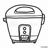 Cooker Rice Sketch Cartoon Drawn Isolated Comp Contents sketch template