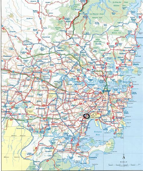 detailed main roads map  sydney