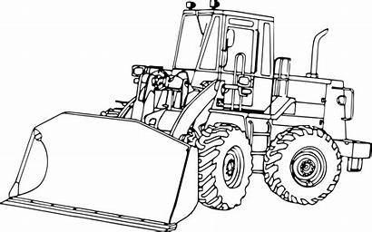 Clipart Bulldozer Loader Tractor Drawing End Excavator