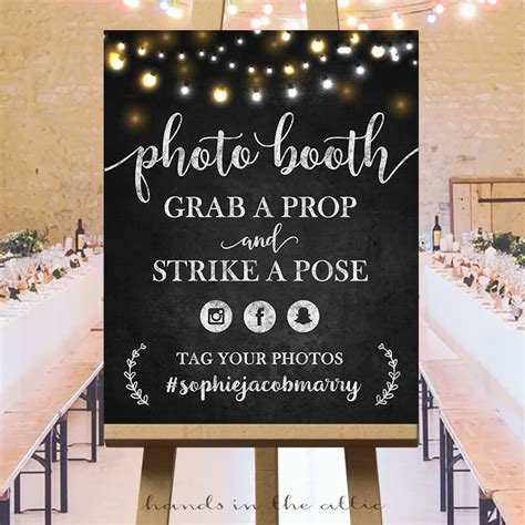 wedding photo booth sign fairy lights chalkboard hands