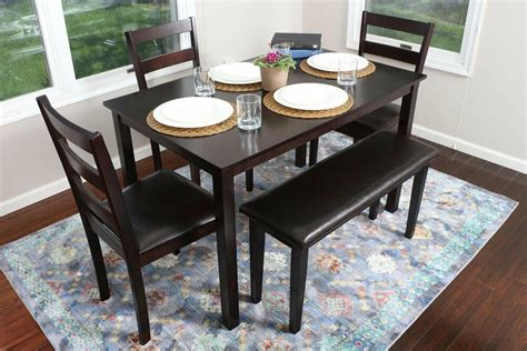 Kitchen Table Set With Bench 5pc espresso dining table set dinette chairs bench kitchen