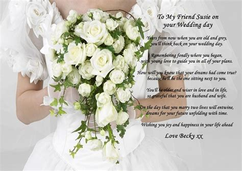 personalised  poem   friend   wedding day gift