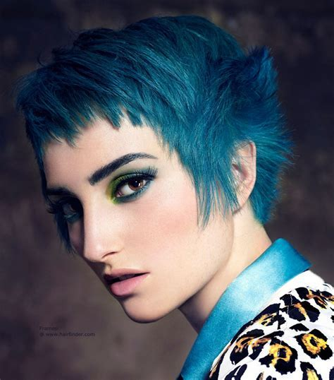 Blue hair in a short cut with textured sides
