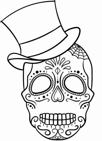 Skull Sugar Coloring Skulls Dibujos Hat Mayo
