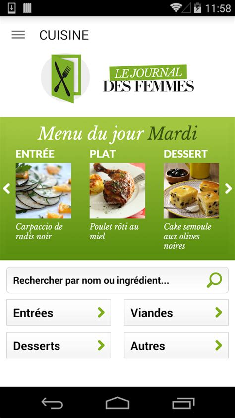 application android cuisine cuisine 40 000 recettes applications android sur
